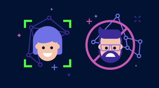 facial recognition ai and person selection - facial recognition stock illustrations