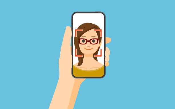 facial recognition concept - facial recognition stock illustrations