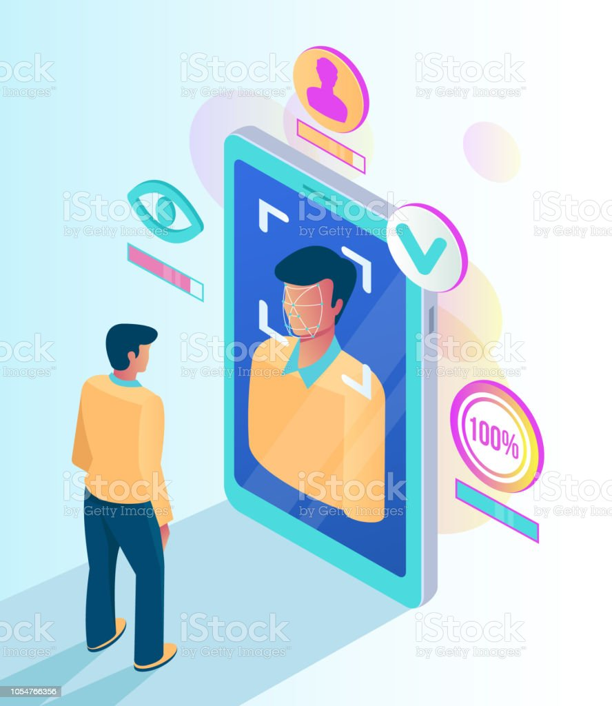 Facial recognition face ID system. Man character scanning scan app face on screen. Vector flat cartoon graphic design isolated illustration vector art illustration