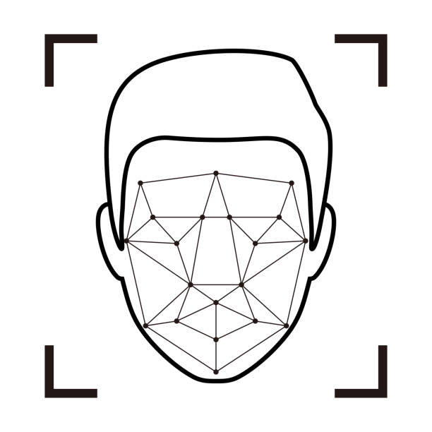 facial recognition system concept icons, simple vector illustration - facial recognition stock illustrations