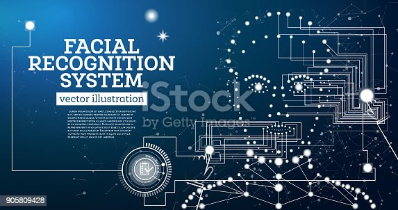 872707982 istock photo Facial Recognition System Concept with Neon Lines. 905809428
