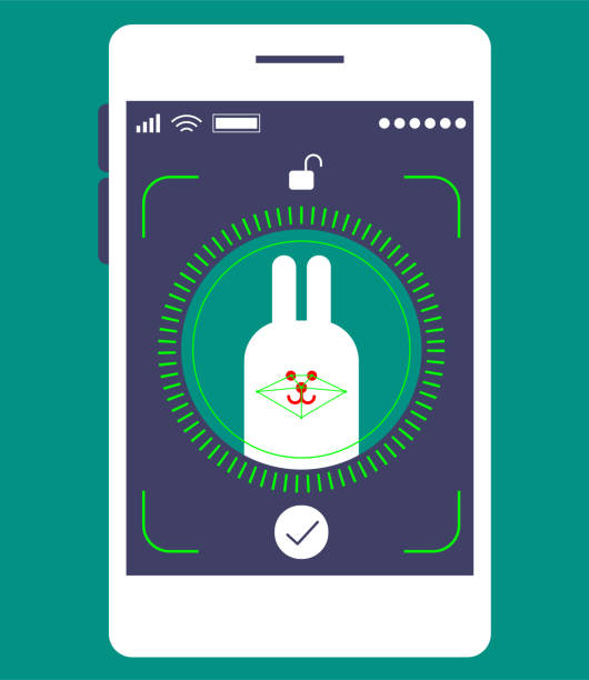facial recognition technology, face id concept, smart phone focus in a cute rabbit face - facial recognition stock illustrations