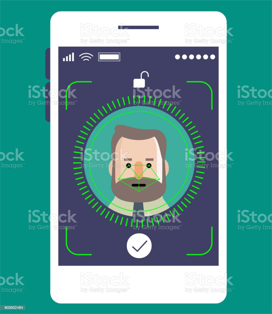 Facial recognition technology, Face ID concept, smart phone focus in a senior businessman (engineer) face vector art illustration