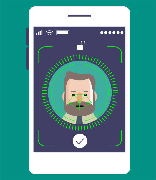 facial recognition technology, face id concept, smart phone focus in a senior businessman (engineer) face - facial recognition stock illustrations