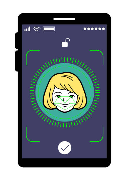 facial recognition technology, face id concept, smart phone focus in a beauty young adult girl face - facial recognition stock illustrations