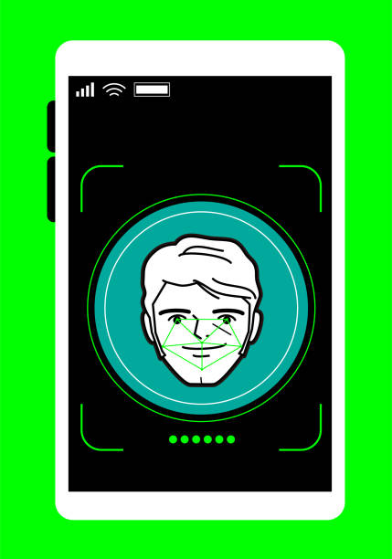 facial recognition technology, face id concept, smart phone focus in a handsome businessman face - facial recognition stock illustrations