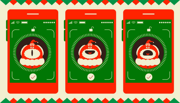facial recognition technology, face id concept, smart phone focus in santa claus - facial recognition stock illustrations