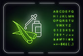 Facial serum neon light icon. Plant based liquid. Healing botanical juice. Aloe vera extract. Outer glowing effect. Sign with alphabet, numbers and symbols. Vector isolated RGB color illustration