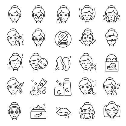 Facial skin care, icon set. The woman applies products for healthy skin, linear icons. Gram, mask, cosmetics for young elastic skin. Line. Editable stroke