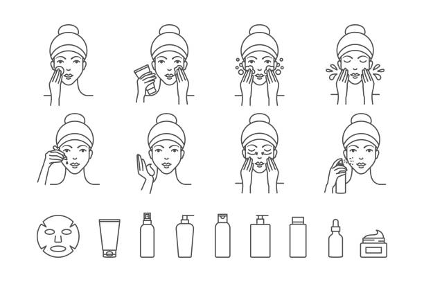 stockillustraties, clipart, cartoons en iconen met gezichtshuid zorg vector iconen - skincare