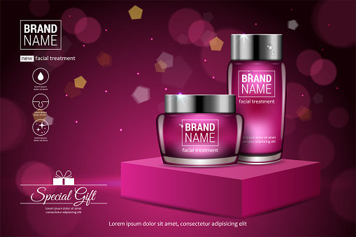 Facial treatment cream glass jars set realistic vector illustration isolated on pink background.