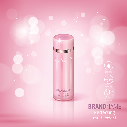 Facial treatment cream realistic vector illustration isolated on pink bokeh background. Cosmetic add mock up template for sale poster design
