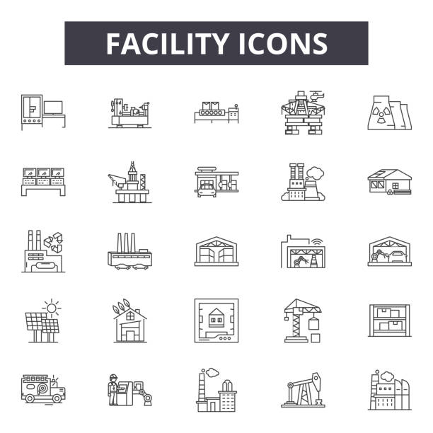 Facility line icons for web and mobile design. Editable stroke signs. Facility  outline concept illustrations Facility line icons for web and mobile. Editable stroke signs. Facility  outline concept illustrations manufacturing stock illustrations