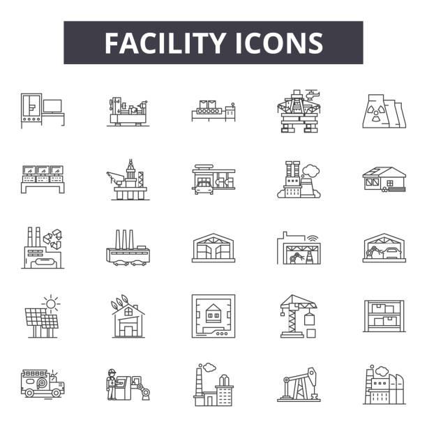 ilustraciones, imágenes clip art, dibujos animados e iconos de stock de iconos de línea de instalación para diseño web y móvil. signos de trazo editables. las ilustraciones conceptuales de las instalaciones - manufacturing