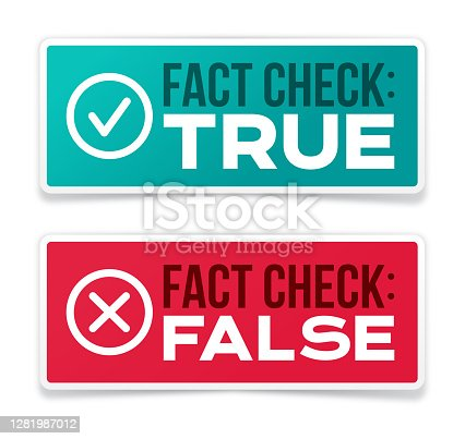 Fact checking truth and falsehood information accuracy badges.