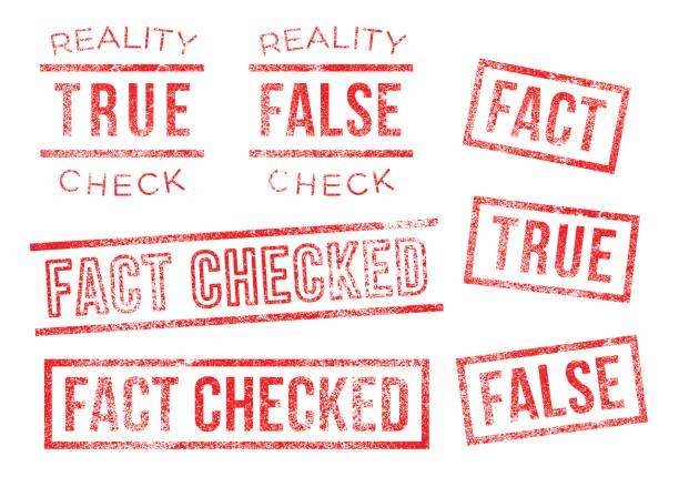 Fact reality check true false Rubber Stamps vector art illustration