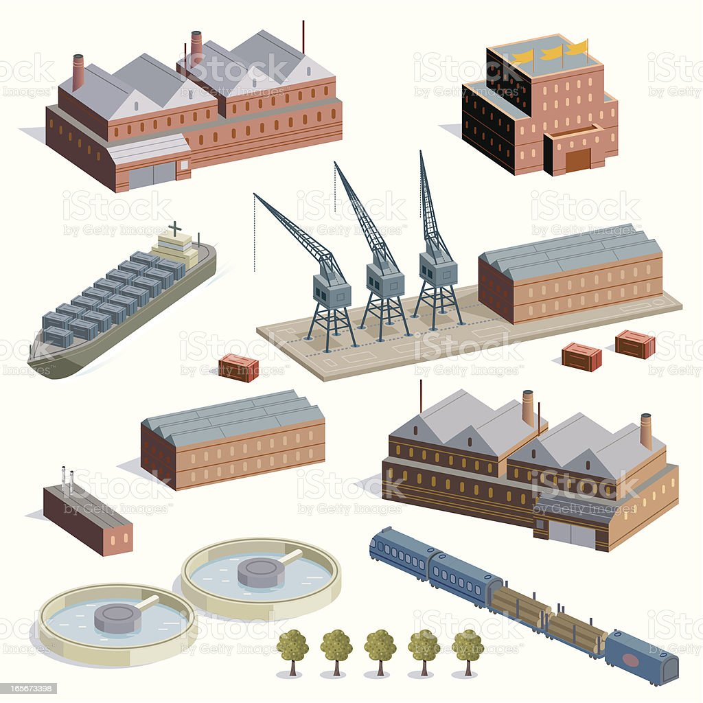 Factories, Docks and trains royalty-free stock vector art