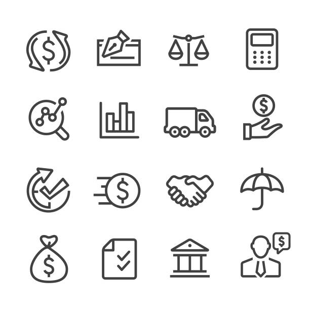 factoring company icons - line series - credit score stock illustrations, clip art, cartoons, & icons