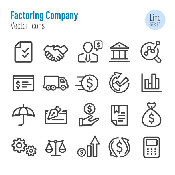 Factoring Company Icons - Vector Line Series Factoring Company, business, qualification round stock illustrations