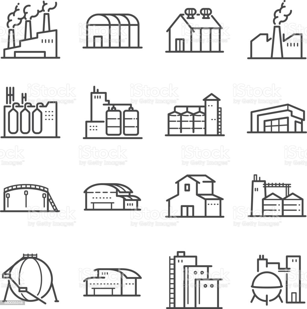 Factory and industrial vector line icon set. Included the icons as factory, silo, warehouse, workshop and more vector art illustration