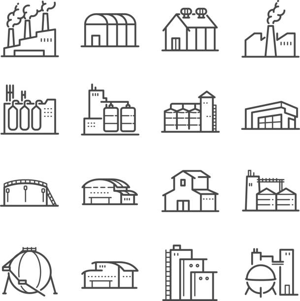ilustrações de stock, clip art, desenhos animados e ícones de factory and industrial vector line icon set. included the icons as factory, silo, warehouse, workshop and more - factory