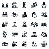 A set of icons representing the factory and mass production industry. The icons include factories, workers working on an assembly line, workers using sewing machines, robot arms, workers wearing hard hats while at work, semi-trucks used to transport goods, factory equipment and other related icons.