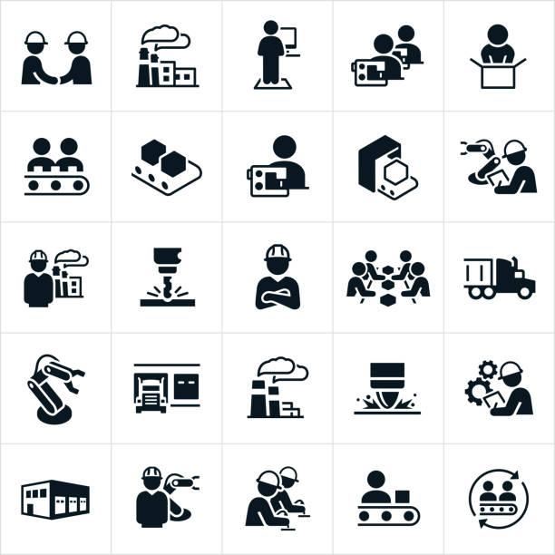 ikony produkcji fabrycznej i masowej - produkować stock illustrations
