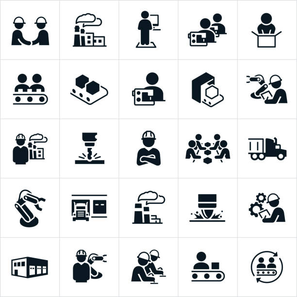 Factory and Mass Production Icons A set of icons representing the factory and mass production industry. The icons include factories, workers working on an assembly line, workers using sewing machines, robot arms, workers wearing hard hats while at work, semi-trucks used to transport goods, factory equipment and other related icons. manufacturing stock illustrations