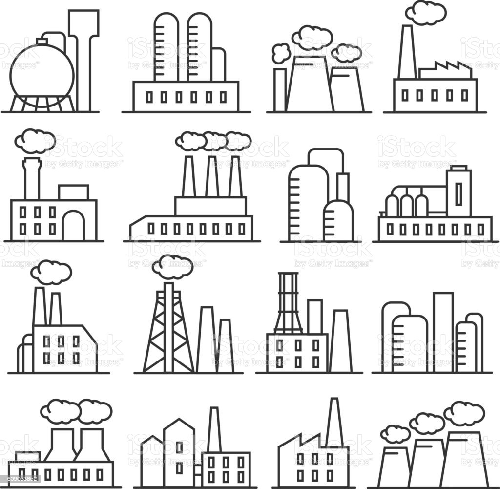 Factory and plant thin line vector icons vector art illustration