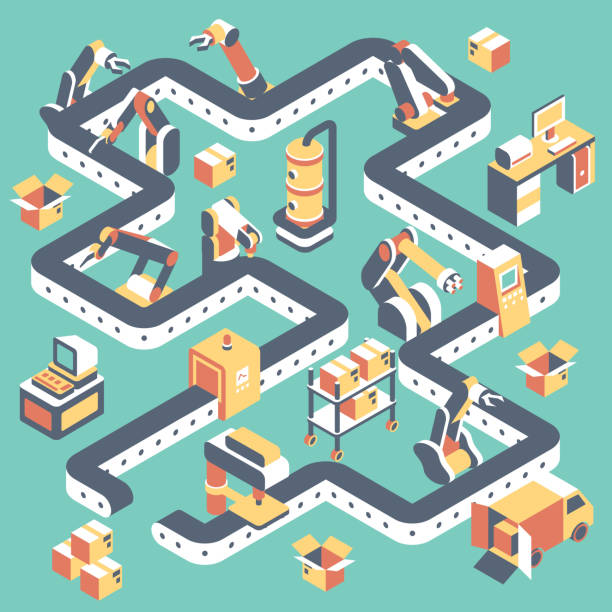Factory automated production line vector flat isometric illustration vector art illustration