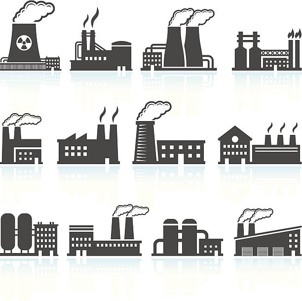Factory Black & White royalty free vector arts Set Factory Black and White interface icons Set This editable vector file features black icons on white background. The icons are organized in rows and can be used as app icons, online as internet web buttons, and in digital and print. power station stock illustrations