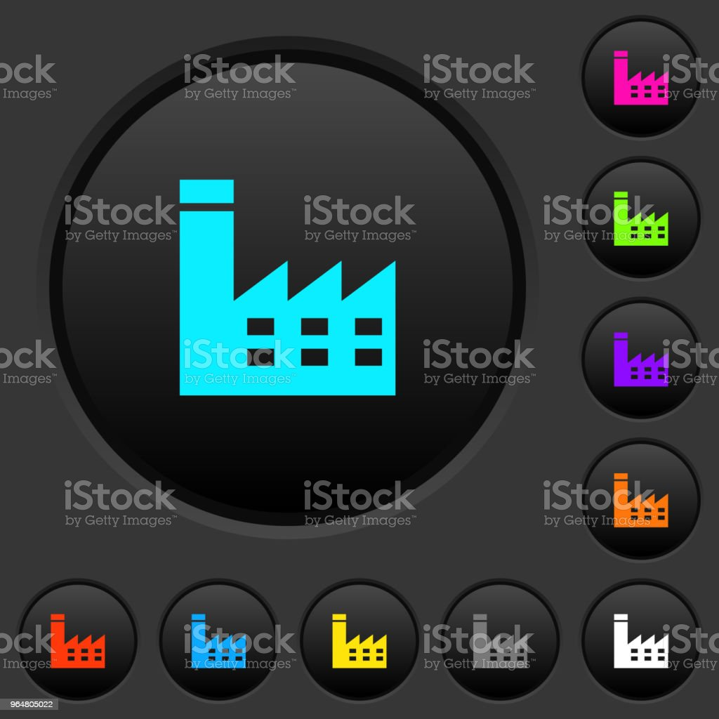 Factory building dark push buttons with color icons royalty-free factory building dark push buttons with color icons stock vector art & more images of air pollution