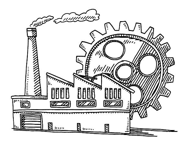 Factory Building Gear Symbol Drawing Hand-drawn vector drawing of a Factory Building and a Gear Symbol. Black-and-White sketch on a transparent background (.eps-file). Included files are EPS (v10) and Hi-Res JPG. environment stock illustrations