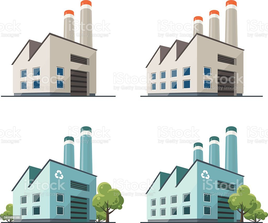 Factory Building Illustration Stock Vector Art & More ...