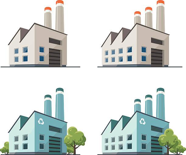 factory building illustration - flat icons stock-grafiken, -clipart, -cartoons und -symbole