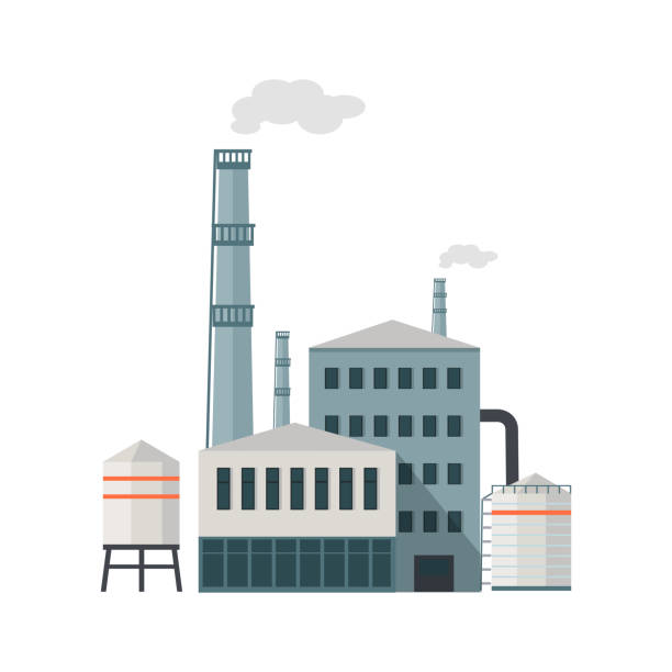 Factory Building in Flat Factory building with pipes in flat. Industrial factory building concept. Industrial plant with pipes. Plant with smoking chimneys. Factory icon. Isolated object in flat design on white background. plant stock illustrations