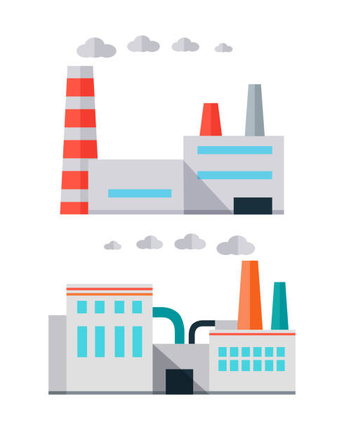 Factory Building in Flat Factory building with pipes in flat. Waste recycling. Industrial factory building concept. Industrial plant with pipes. Factory icon. Isolated object in flat design on white background. factory stock illustrations