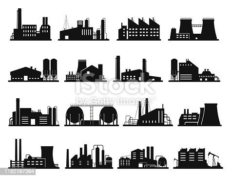 Factory building set, city industry and business silhouette. Architecture and commercial building. Vector line art illustration on white background