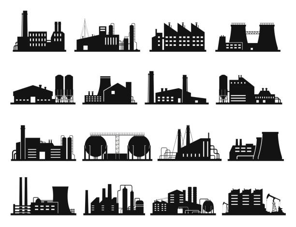 Factory building set, city industry and business silhouette Factory building set, city industry and business silhouette. Architecture and commercial building. Vector line art illustration on white background plant stock illustrations