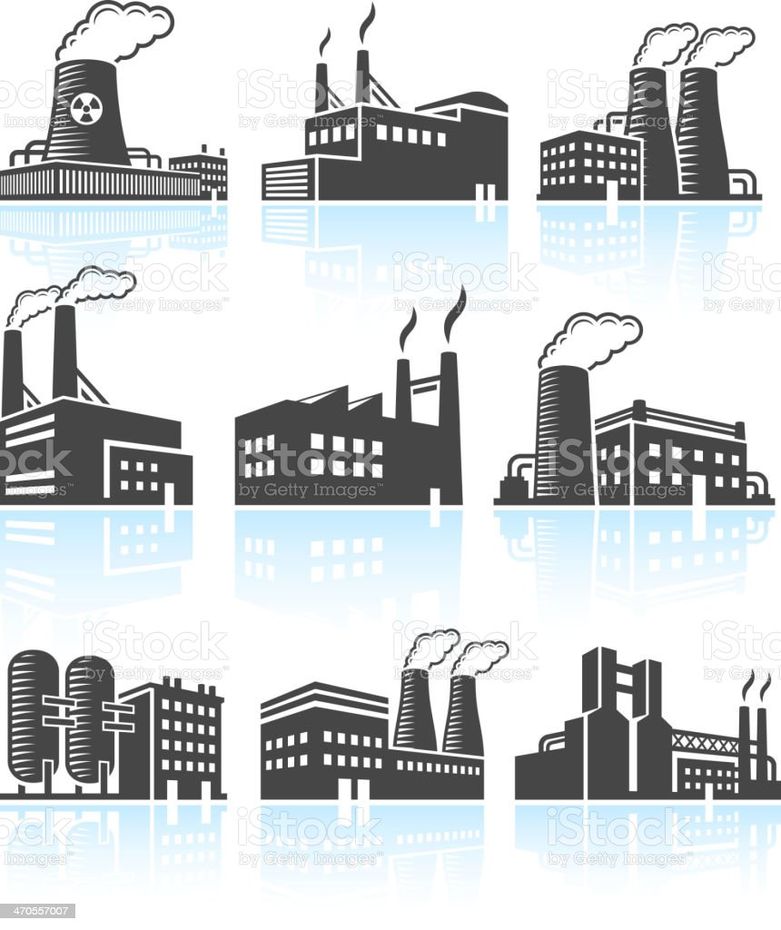 Factory Buildings black & white royalty free vector icon set vector art illustration