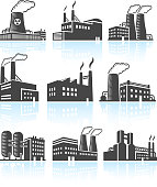Factory Buildings black & white royalty free vector icon set