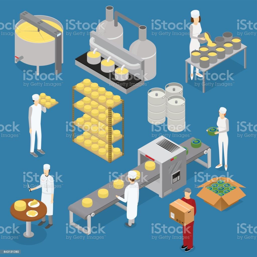 Factory Cheese Production Line Elements and Staff. Vector vector art illustration