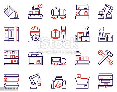 Factory color line icon set. Robot and production industrial work. Labor and engineering concept. Truck, warehouse, worker, uniform, power station, mine, conveyor, buildings, tools and more