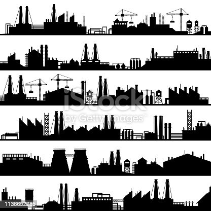 Factory construction silhouette. Industrial factories, refinery panorama and manufacture buildings skyline. Manufacturing industry, oil plant or environment refineries vector illustration set