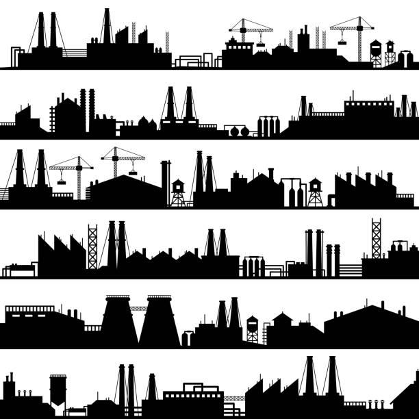 fabryczna sylwetka budowlana. fabryki przemysłowe, rafineria panorama i produkcji budynków skyline zestaw ilustracji wektorowych - produkować stock illustrations