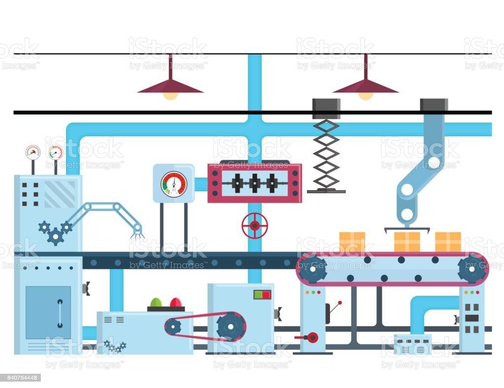 Factory Conveyor Automatic Production Line or Belt. Vector vector art illustration