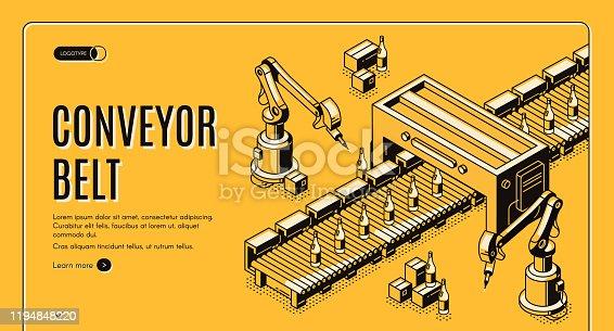 istock Factory conveyor belt landing page. Robotic arms 1194848220