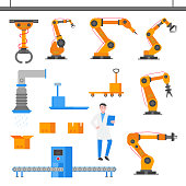 Factory elements set flat style design with cardboard boxes, ventilation, conveyor, robot arm, box with lid, industrial scales, open box, trolley, automated line, operator isolated on white.
