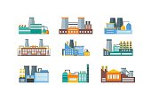 Factory Flat Set. Vector