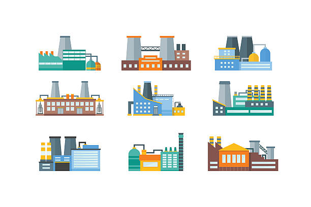 Factory Flat Set. Vector Factory or Industrial Building Flat Design Style Set. Vector illustration factory stock illustrations